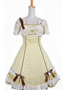 Sweet Yellow Spinning Printing Cotton Womens Lolita Dress