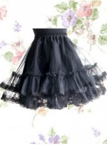 Gothic Black Organza Layered Lolita Skirt