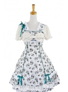 Blue Spinning Printing Cotton Women's Lolita Dress