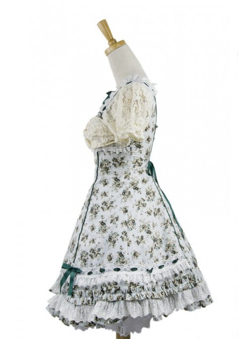 Blue Spinning Printing Cotton Women's Lolita Dress