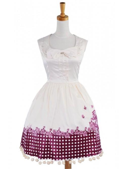 Beige Sleeveless Sun Flower Cotton Lolita Dress