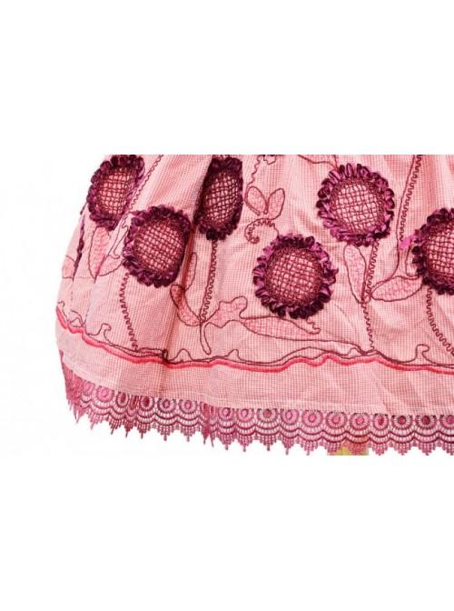 Red Sleeveless Knee-length Sun Flower Floral Cotton Sweet Lolita Dress
