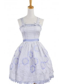 Gray Sleeveless Knee-length Sun Flower Floral Cotton Sweet Lolita Dress