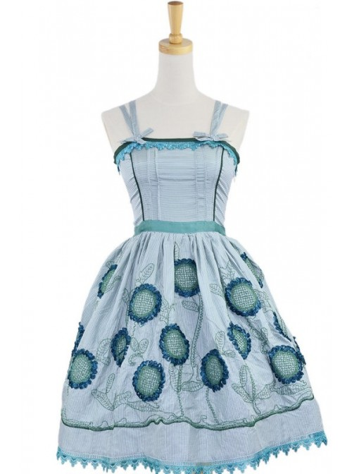 Green Sleeveless Knee-length Sun Flower Floral Cotton Sweet Lolita Dress