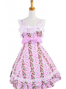 Pink Lace Trim Ruffles Sleeveless Terylene Lolita Dress