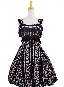 Sweet Black Lace Trim Ruffles Sleeveless Terylene Lolita Dress