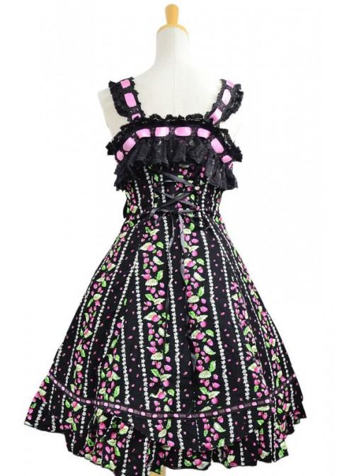 Sweet Black Lace Trim Ruffles Sleeveless Terylene Lolita Dress