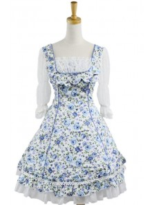 Sweet Blue Floral Short Sleeves Lace Trim Cotton Lolita Dress