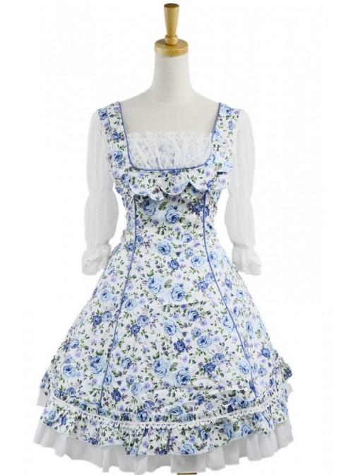 Sweet Blue Floral Short Sleeves Lace Trim Cotton Lolita Dress