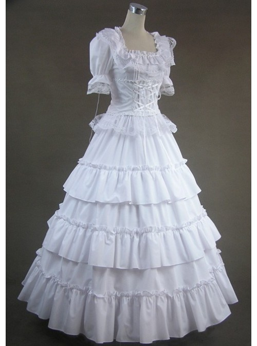 White Short Sleeves Floral Double-Layer Lace Trim Cotton Lolita Prom Dress
