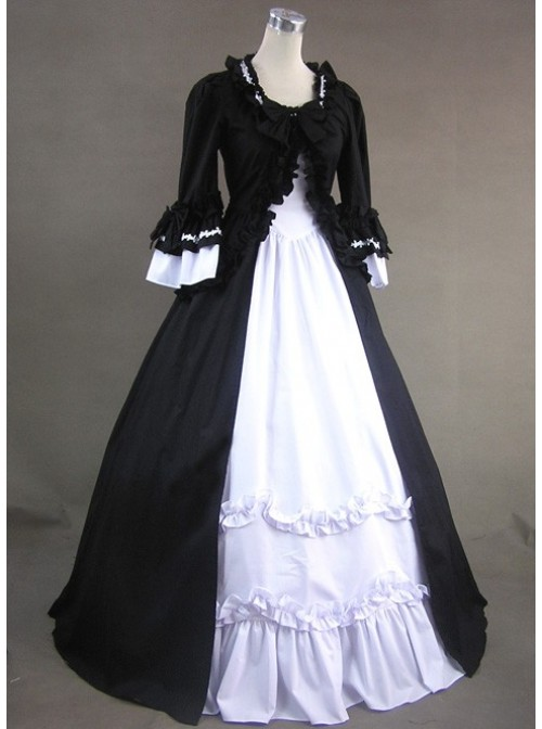 Black And White Short Sleeves Cotton Lolita Prom Dress