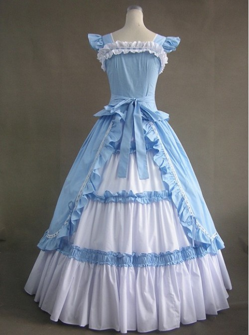 Blue And White Bandage Floral Double-Layer Cotton Lolita Prom Dress
