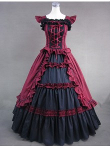 Black And Red Bandage Floral Double-Layer Lolita Prom Dress