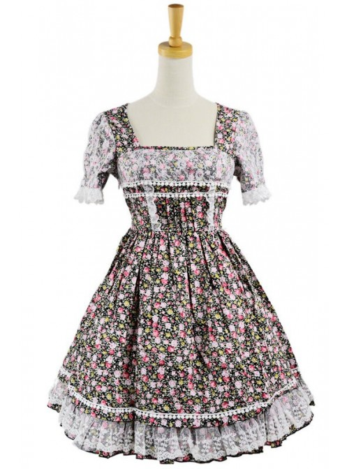 Sweet Colorful 100% Cotton Lace Floral Short Sleeve Lolita Dress