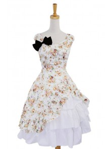 Beige Floral Bow Lovely Cotton Lolita Dress