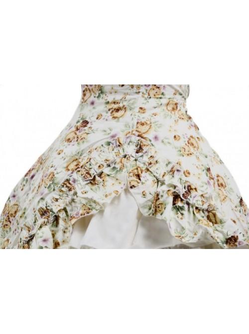 Beige Floral Bow Lovely Cotton Lolita Dress