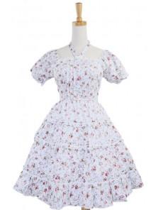 White 100% Cotton Floral Bow Sash Sweet Lolita Dress
