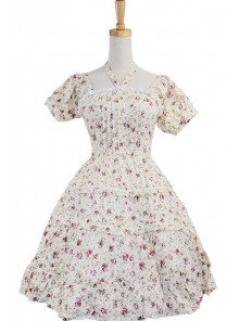 White 100% Cotton Floral Bow Sash Cute Lolita Dress