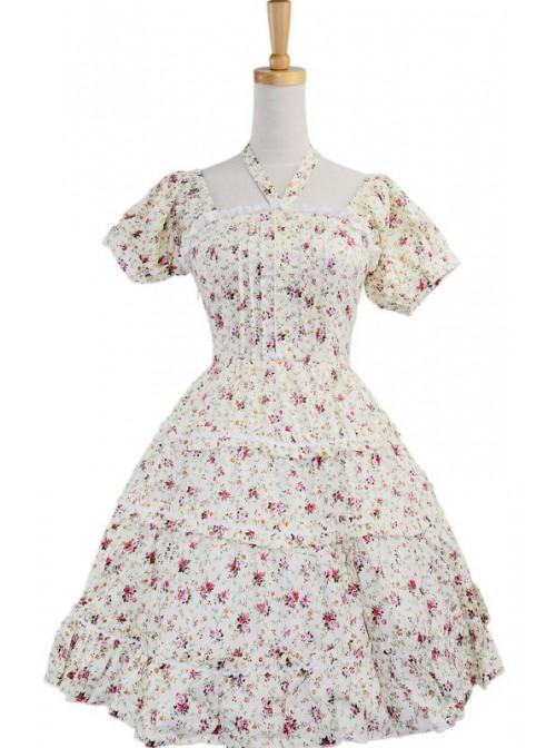 White 100% Cotton Floral Bow Sash Cute Lolita Dress