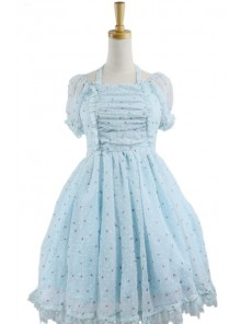 Blue Jacquard Chiffon Bow Short Sleeve Sweet Lolita Dress