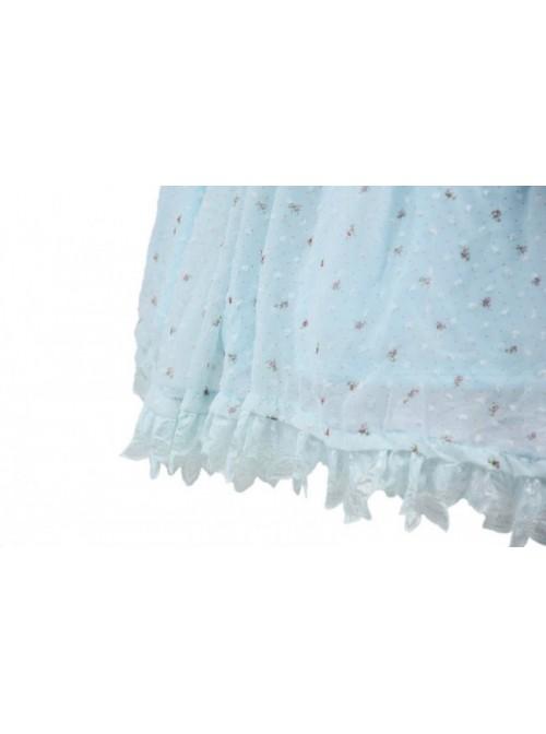 Blue Jacquard Chiffon Bow Short Sleeve Sweet Lolita Dress
