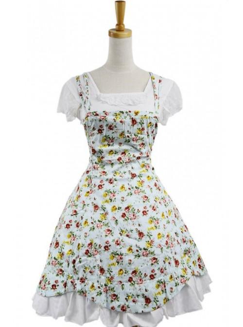 Blue 100% Cotton Floral Lace Sweet Lolita Dress