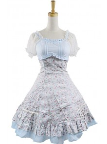 Sweet Sky-blue Short Sleeveless Girls Cotton Lolita Dress