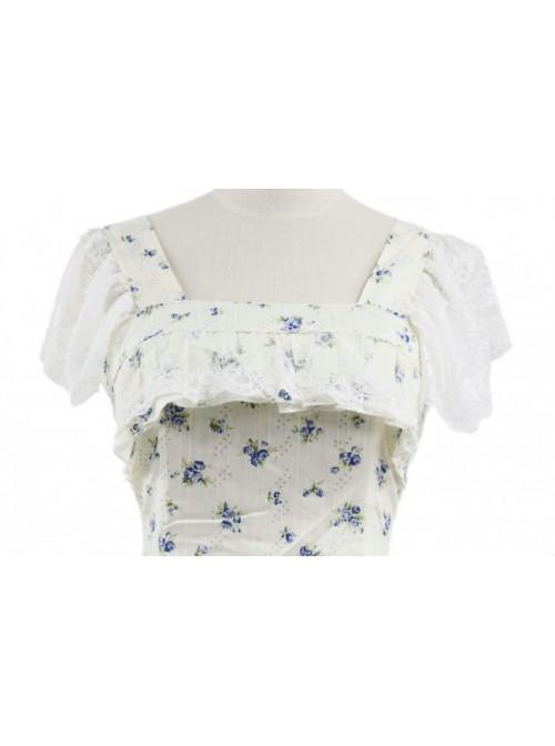 Floral Classic Short Sleeves Cotton Lolita Dress