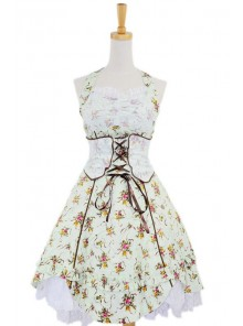 Green Sweet Floral Bow Cotton Lolita Dress