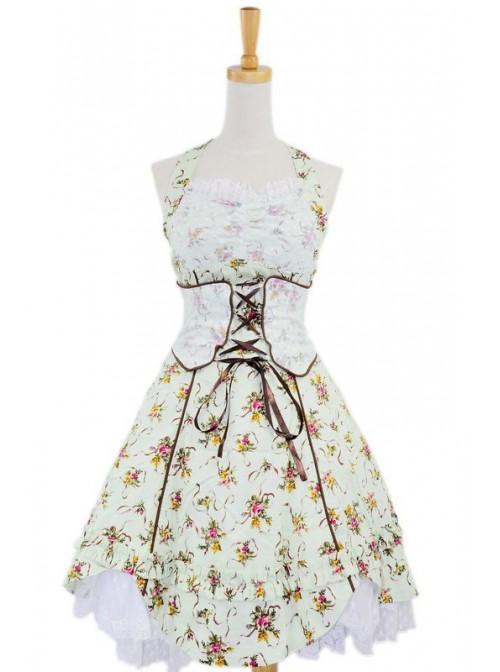 Green Sweet Floral Bow Cotton Lolita Dress