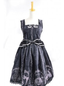 Classic Cinderella Black Cotton And Satin Womens Lolita Dress