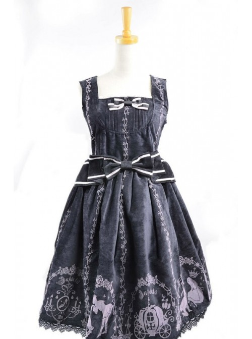 Classic Cinderella Black Cotton And Satin Womens Lolita Dress