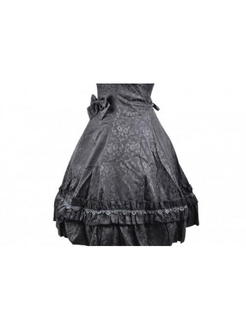 Sweet Black Satin Cotton Bowknot Womens Lolita Dress