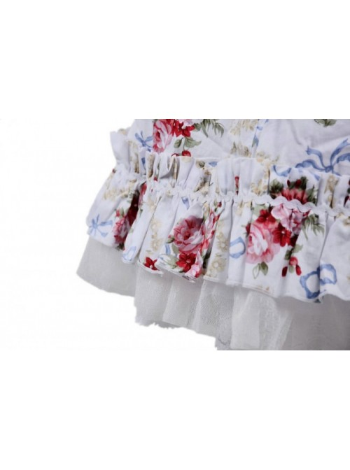White Floral Classic Square Neck Puff Short Sleeves Cotton Lolita Dress