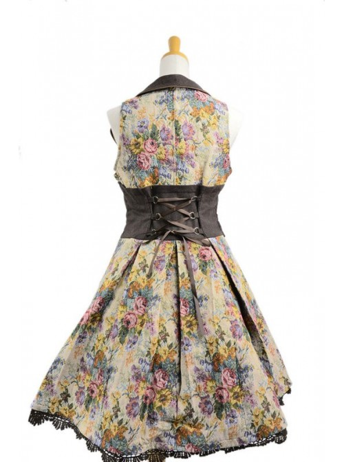 Gothic Floral Lace Trim Terylene Sleeveless Lolita Dress