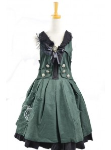 Sweet Green Stylish 100% Cotton Lolita Dress
