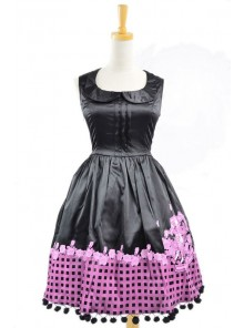 Black Sleeveless Sun Flower Cotton Lolita Dress