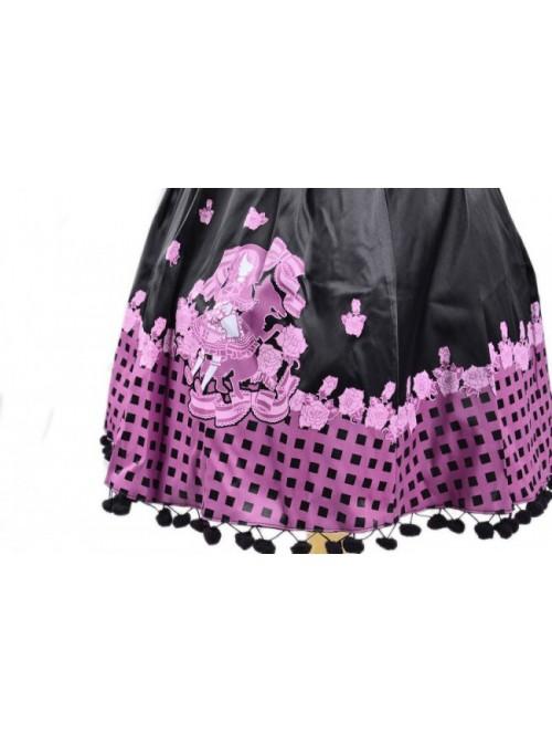 Black Sleeveless Sun Flower Cotton Lolita Dress