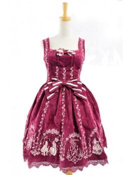 Graceful Red Velvet Bow Lace Classic Lolita Dress