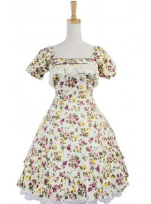 Short Sleeves Lovely 100% Cotton Lolita Dress
