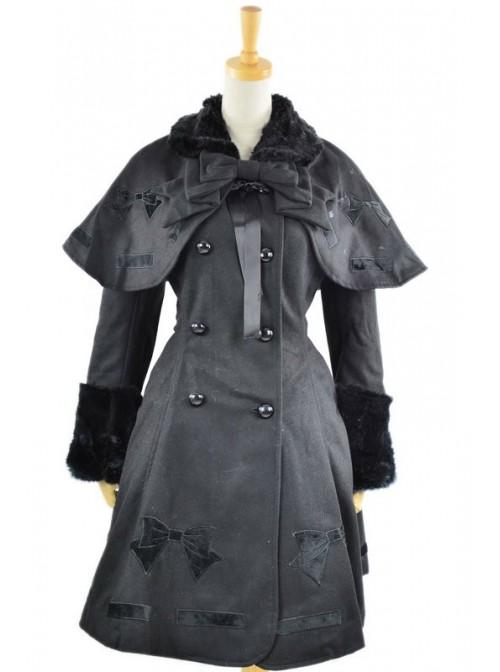 Long Sleeve Black Bow Pattern Flanel Gothic Lolita Coat