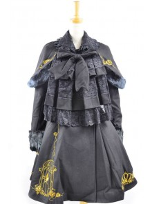 Fabulous Black Wool Birdcage Double-Breasted Lolita Coat