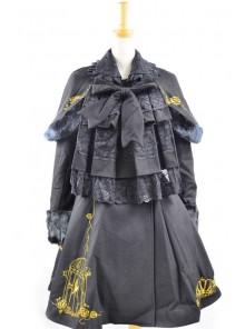 Fabulous Black Wool Birdcage Double-Breasted Lolita Coat
