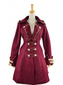 Stylish Red Velvet Chain Button Long Sleeve Lolita Coat