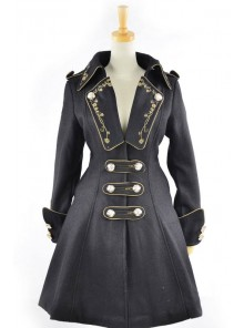 Black Velvet Chain Button Long Sleeve Lolita Coat