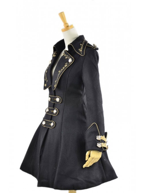 Black Velvet Chain Button Long Sleeve Lolita Coat