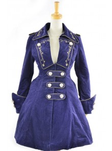 Stylish Blue Velvet Chain Button Long Sleeve Lolita Coat