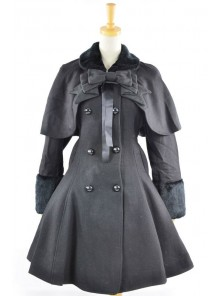 Fantastic Black Wool Bow Long Sleeve Lolita Coat