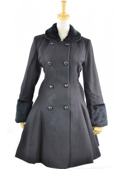 Fantastic Black Wool Bow Long Sleeve Lolita Coat