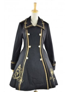 Black Wool Flannel Lapel Long Sleeves Gothic Lolita Winter Coat